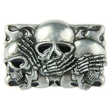 Senmi New Men Silver Three Skulls Belt Buckle Western Cool Metal Unique