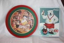 VINTAGE 1985 ROUND COCA COLA METAL TRAY + 100 PIECE PUZZLE 1988 NEVER OPENED
