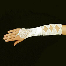 Ivory Luxurious Bridal Lace & 4 Bow Fingerless Wedding Prom Gloves