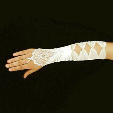 Ivory Luxurious Bridal Lace & 4 Bow Fingerless Wedding Prom Gloves