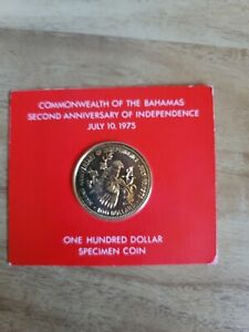 1975 Bahamas $100 gold coin 2nd anniversary of independence