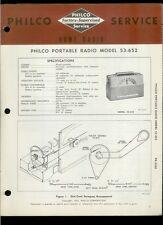 Rare Original Factory Philco 53-652 Am If Radio Service/Repair Manual