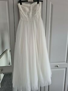 Dorothy Perkins Strapless Wedding Dress Lace Corset Tulle Skirt Size 8 BNWOT