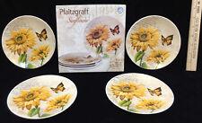 """Pfaltzgraff Sunflower Appetizer Plates Set 4 Original Box Butterfly 6"""" NOS"""