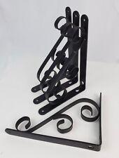 "Set 4 Wrought Iron Corbel black brackets 9"" x 6-1/2"" S Flare Decorative"