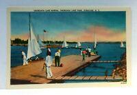 Syracuse New York Onondaga Lake Marina Sail Boats Linen Vintage Postcard