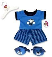 Teddy Bear Clothes fit Build a Bear Teddies Blue Puppy PJ's Pyjamas & Slippers