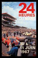 24 Heures Du Mans Course 1957 Panneau Métallique Plaque Étain Signer 20 X 30 CM