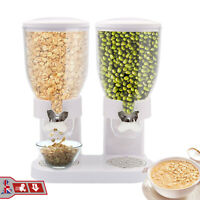 Cereal Dispenser Double Size Dry Food Twin Container White Kitchen Storage