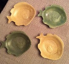 Vintage Handmade Fish Nesting Plates Yellow And Green Set Of 4 Signed/Dated 1963