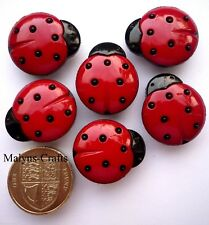 LARGE LADYBIRDS Craft Buttons 1ST CLASS POST Insect Garden Flower Novelty Plant
