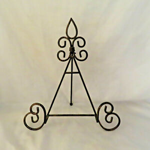 Wrought Iron Picture Easel Display Stand Strong Crafted Metal 16 inch Ornate