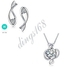 925 Sterling Silver Pisces Zodiac Sign Crystal Pendant + Stud Earrings Set S134