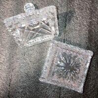 Square Vintage Lead Crystal Square Sugar Jam Condiment Bowl w/Lid Diamond Cut