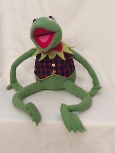 """Muppets Kermit the Frog Plush Eden Toys Jim Henson's 24"""" Plaid Vest Bow Vintage"""