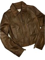 ALICE TEMPERLEY TARGET Womens SZ M Super Soft Brown Genuine Leather Jacket EUC