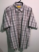 JEEP | Men's Short Sleeve Button Shirt | Collar | Brown White Checks | Size M