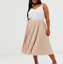 Outrageous Fortune Plus Size Midi Pleated Skater Skirt Mink BNWT Size UK 26
