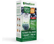 New listing FoodSaver Easy Fill 1-Quart Vacuum Sealer Bags 16 ct. Commercial Grade • 2083545