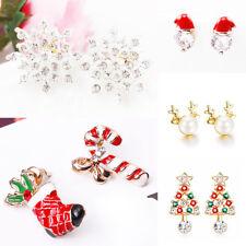 1Pair Women Charming Christmas Theme Crystal Earrings Ear Stud Xmas Jewelry Gift