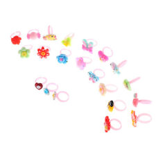 10x Kids Cartoon Rings toy Plastic Children Kids Animals Flowers Finger Rings HG