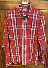 J.Crew Men L Slim Fit Button Down Long Sleeve Shirt Check Plaid Cotton