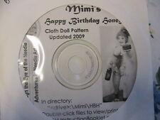 """MIMI'S HAPPY BIRTHDAY HONEY~Gloria """"Mimi"""" Winer RARE CD~cloth art doll pattern"""