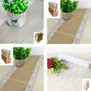 HESSIAN LACE BURLAP RUNNER Vintage Table Roll Rustic Party Sash Natural Wedding