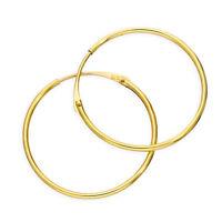 Real 375 9ct Gold 1mm Tube Hoop Earrings 8mm - 20mm
