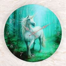 'FOREST UNICORN GLASS WALL CLOCK ~ ANNE STOKES DESIGN 34cm ~ BOXED