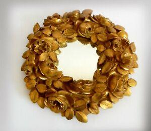 Decorative mirror with vintage ornate gilt wood frame - rose wreath design