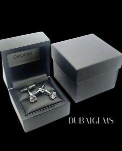 White Gold Finish round cut Created Diamond Cufflinks gift boxed free postage