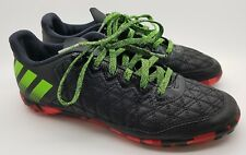 Adidas Moulded Studs Football Astro Turf Boots Laced Leather Black Red UK 5 A514