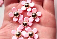 5pcs flower cabochons gold & pink - craft - magnet - badge - jewellery - decoden
