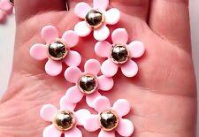 5pcs Fleur Cabochons OR & ROSE-Craft-magnet-BADGE - Bijoux-Decoden