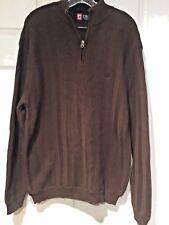 Men's  CHAPS SWEATER Pullover BROWN Cotton Size Large 1/4 Zip