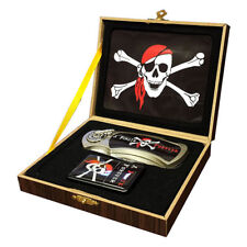 Collector Pirate Crossbone Folding Knife & Lighter Wood Box Set Gift Box