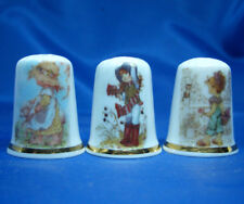 Birchcroft China Thimbles -- Set of Three -- Garden Girls