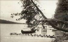 Portage ME Canoe & Dock Real Photo Postcard