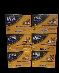 LOT of 6 Dial For Men Odor Armor 24 Hr Odor Control 12 Soap Bars New