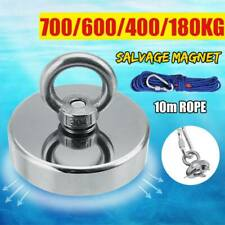 Round Double Sided Super Strong Neodymium Fishing Magnet Detector Kit 100-700KG