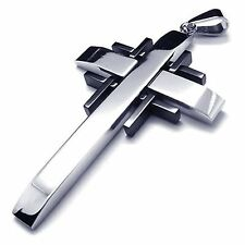 Men's 316L Stainless Steel Pendant Chain Necklace Cross Silver Black