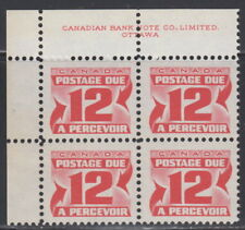 Canada #J36i 12¢ CENTENNIAL POSTAGE DUE 3RD ISSUE UL PLATE BLOCK MNH