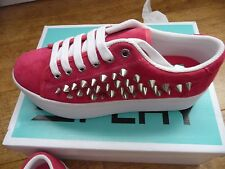 Jeffrey Campbell Platform Play zOMG Pink Suede Silver Spike Trainers UK 5