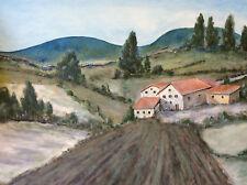 Expressionniste Provence paysage gouache Jungo 2ème moitié XXème France