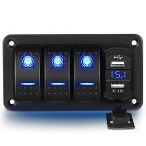 3 Gang Rocker Switch Panel 4.8A USB Charger Car Boat Marine RV Truck Blue LED