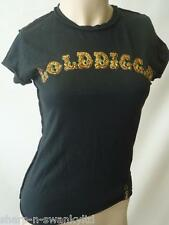 ☆ GOLDDIGGA Ladies Black Logo Studded T-Shirt Top XS (UK 6-8 EU 34-36) ☆