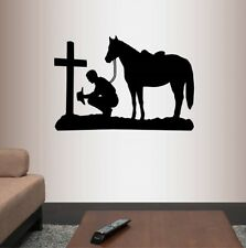 Vinyl Decal Cowboy Praying Kneeling Cross Horse Western Room Decor Sticker 556
