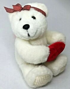 The Petting Zoo Vintage White Valentine TeddyBear Plush red heart stuffed animal