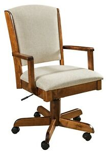 Amish Morris Solid Wood Upholstered Desk Arm Chair Gas Lift Rolling Office